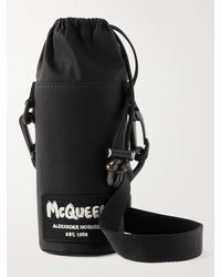 Alexander McQueen Logo-appliquéd Canvas Bottle Holder - Black