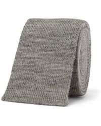 Thom Browne - 5cm Striped Knitted Mélange Wool Tie - Lyst