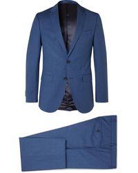 BOSS by Hugo Boss Novan/ben Slim-fit Puppytooth Virgin Wool Suit - Blue