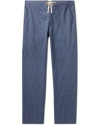 Oliver Spencer Townsend Striped Organic Cotton Pyjama Trousers - Blue