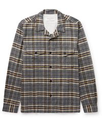 Officine Generale Jonas Camp-collar Checked Brushed Cotton-flannel Shirt - Gray