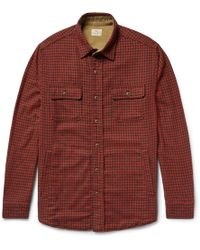 Faherty Brand - Suede Elbow-patch Houndstooth Woven Overshirt - Lyst