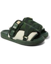 Visvim Christo Colour-block Canvas And Rubber Sandals - Green