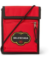 Balenciaga Explorer Logo-appliquéd Canvas Messenger Bag - Red