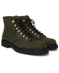 MR P. Jacques Shearling-lined Waxed-suede Boots - Green