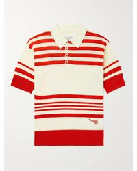 Maison Margiela Embroidered Striped Knitted Polo Shirt