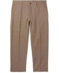 YMC - Cropped Checked Cotton-blend Trousers - Lyst