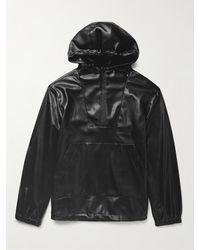 Deveaux Parker Vegan Leather Hooded Jacket - Black