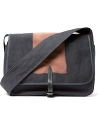 Dries Van Noten | Leather-trimmed Two-tone Canvas Messenger Bag | Lyst