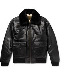 Schott Nyc G-1 Shearling-trimmed Leather Bomber Jacket - Black