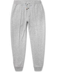 Brunello Cucinelli Slim-fit Mélange Cashmere And Cotton-blend Drawstring Sweatpants - Gray