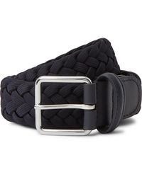 Andersons 4cm Navy Leather-trimmed Woven Elastic Belt - Blue