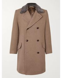 Kingsman Conrad Double-breasted Shearling-trimmed Wool Coat - Brown