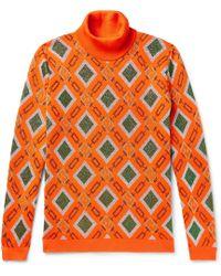 Gucci Wool-blend Jacquard Rollneck Jumper - Orange