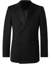 Kingsman Slim-fit Double-breasted Grosgrain-trimmed Wool And Mohair-blend Tuxedo Jacket - Black