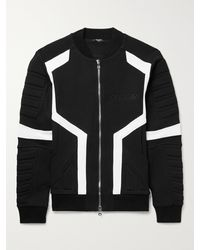 Balmain Embossed Cotton-jersey Bomber Jacket - Black