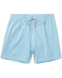 Loro Piana - Mid-length Striped Cotton-blend Swim Shorts - Lyst