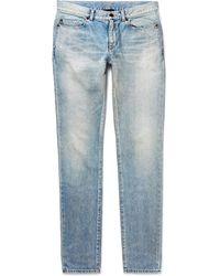 Saint Laurent - Skinny-fit 15cm Hem Distressed Denim Jeans - Lyst