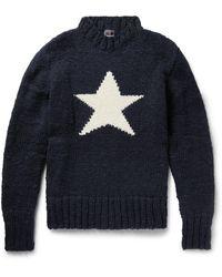 Monitaly Chamula Star-intarsia Merino Wool Jumper - Blue