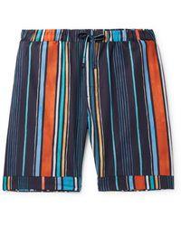 Desmond & Dempsey Striped Cotton Pyjama Shorts - Blue