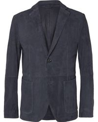 BOSS - Navy Nelias Slim-fit Suede Blazer - Lyst