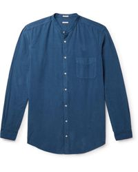 Massimo Alba Noto 2 Grandad-collar Cotton-needlecord Shirt - Blue
