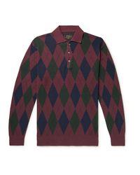 Beams Plus Argyle-jacquard Cotton Polo Shirt - Blue