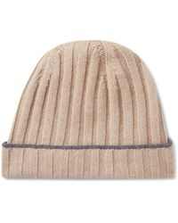 Brunello Cucinelli Contrast-tipped Ribbed Cashmere Beanie - Natural