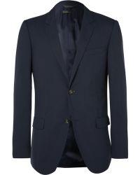 CALVIN KLEIN 205W39NYC - Blue Hudson Slim-fit Silk-seersucker Blazer - Lyst