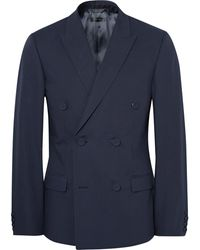 CALVIN KLEIN 205W39NYC - Blue Neville Slim-fit Double-breasted Bonded Cotton Blazer - Lyst
