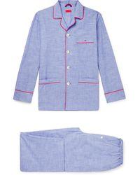 Isaia Piped Cotton Pyjama Set - Blue