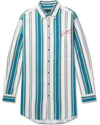 Balenciaga - Oversized Button-down Collar Striped Cotton-twill Shirt - Lyst
