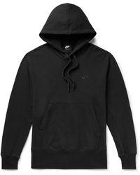 Nike Sportswear Logo-embroidered Loopback Cotton-jersey Hoodie - Black