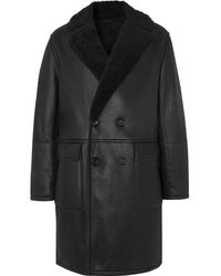 MR P. Oversized Double-breasted Shearling Coat - Black
