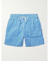 Derek Rose Mid-length Striped Swim Shorts - Blue