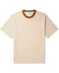 NN07 Jorah Striped Stretch-cotton And Modal-blend Jersey T-shirt - White