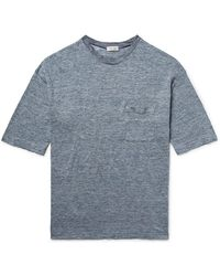 Camoshita Slim-fit Space-dyed Knitted Linen T-shirt - Blue