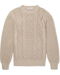Inis meáin Organic Pima Cotton Aran Sweater in Natural for Men | Lyst