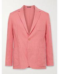 Paul Smith Slim-fit Unstructured Linen Suit Jacket - Orange