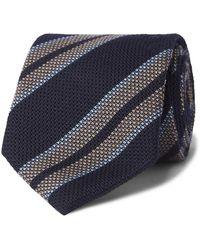 Bigi 9cm Striped Silk And Cashmere-blend Tie - Blue