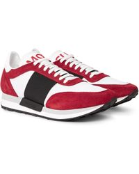 Moncler - Horace Suede And Mesh Trainers - Lyst