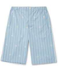 Gucci Striped Cotton-jacquard Bermuda Shorts - Blue