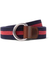 J.Crew | 3cm Burnished Leather-trimmed Striped Cotton Belt | Lyst
