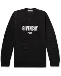 Givenchy - Cuban-fit Distressed Printed Cotton-jersey Sweatshirt - Lyst