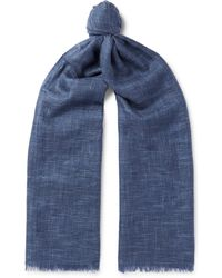 Loro Piana - Brina Fringed Herringbone Cashmere And Silk-blend Scarf - Lyst
