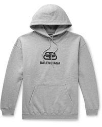 Balenciaga Logo-print Loopback Cotton-jersey Hoodie - Grey