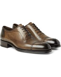 Tom Ford Edgar Burnished-leather Oxford Brogues - Brown