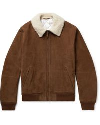 Berluti Shearling-trimmed Nubuck Bomber Jacket - Brown