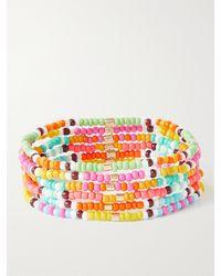 Roxanne Assoulin Set Of Six Enamel And Gold-tone Bracelets - Multicolour
