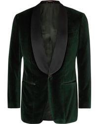 Thom Sweeney - Dark-green Slim-fit Satin-trimmed Cotton-velvet Tuxedo Jacket - Lyst